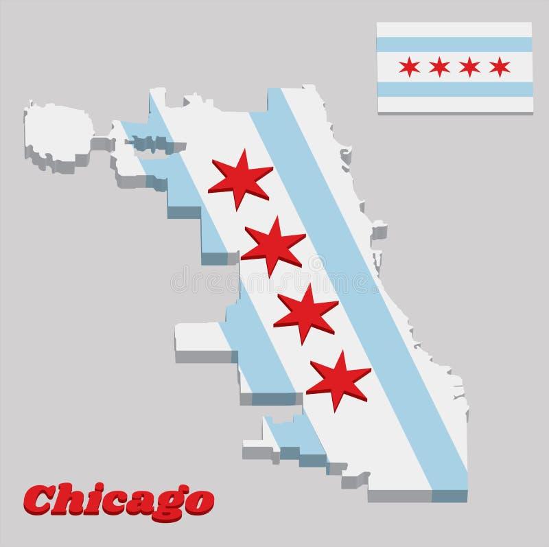 3D地图芝加哥概述和旗子,芝加哥是最人口众多的城市在伊利诺伊,美国 向量例证