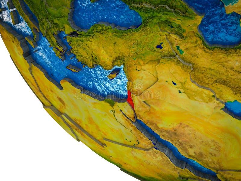 3D地球上的以色列 库存例证