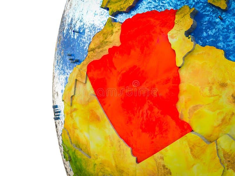 3D地球上的阿尔及利亚 皇族释放例证