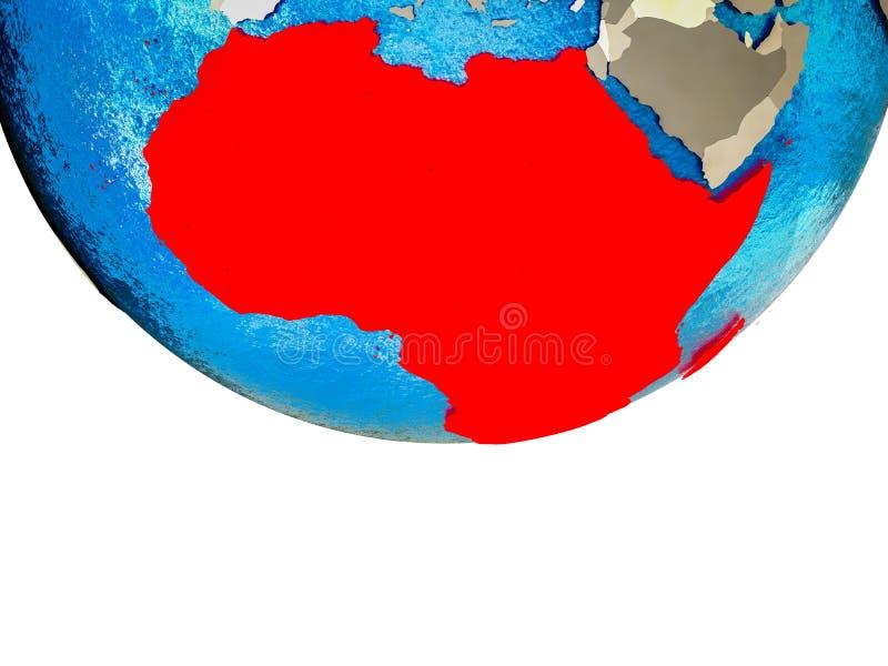 3D地球上的非洲 库存例证