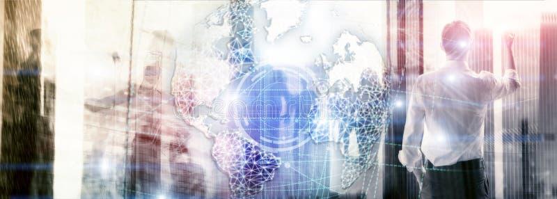 3D地球全息图、地球、万维网、全球企业和电信 网站横幅 皇族释放例证