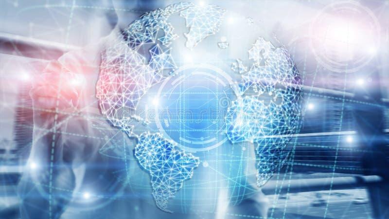 3D地球全息图、地球、万维网、全球企业和电信 库存例证