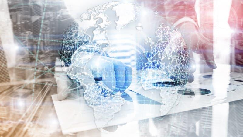 3D地球全息图、地球、万维网、全球企业和电信 免版税图库摄影
