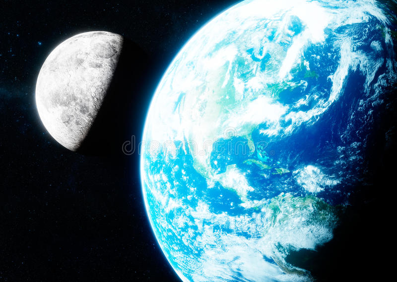 3d地球和月亮照片拟真的翻译  库存例证