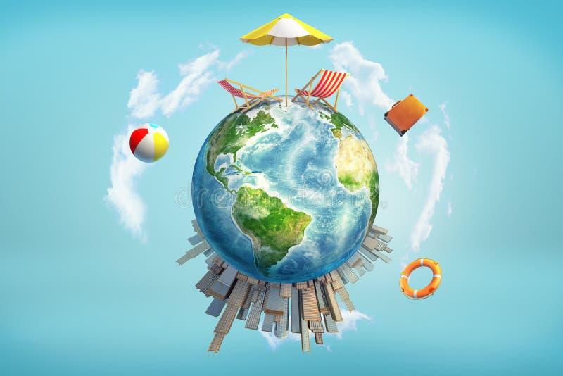 3d地球地球和它的上面和摩天大楼上的躺椅的翻译与阳伞的底部的 图库摄影
