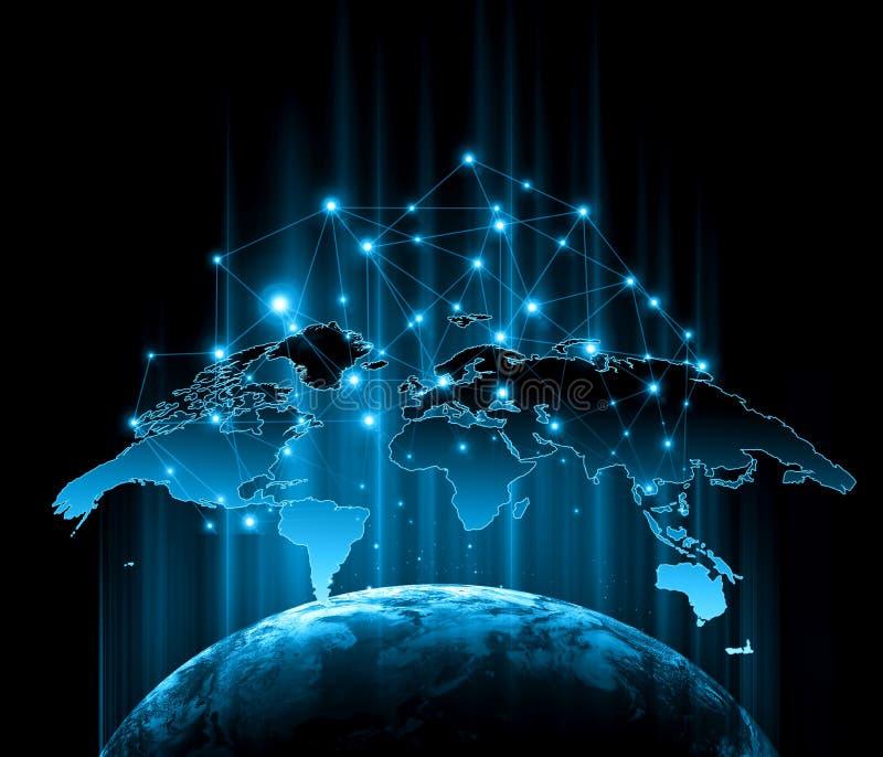 3d地球展望期线路回报了空间 最佳的企业概念概念全球地球发光的现有量互联网系列 用装备的这个图象的元素  向量例证