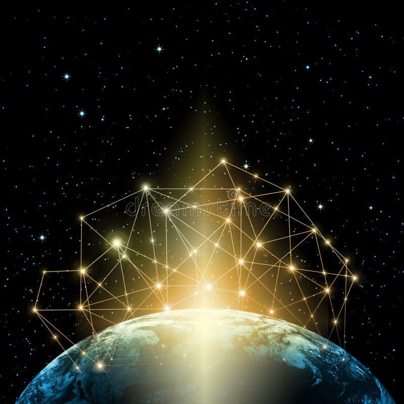 3d地球展望期线路回报了空间 最佳的企业概念概念全球地球发光的现有量互联网系列 用装备的这个图象的元素  库存例证