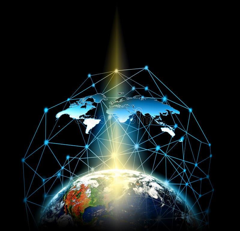 3d地球展望期线路回报了空间 最佳的企业概念概念全球地球发光的现有量互联网系列 用装备的这个图象的元素  皇族释放例证