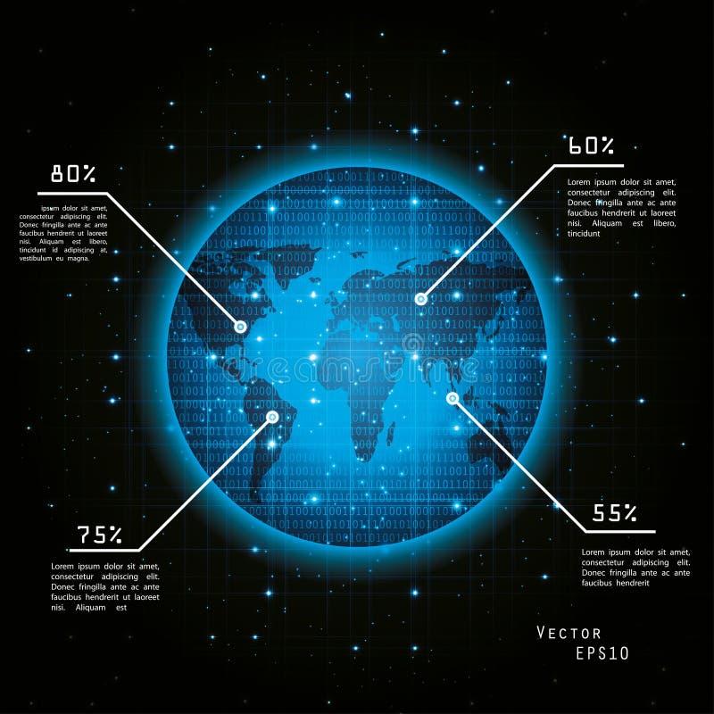 3d地球展望期线路回报了空间 向量例证