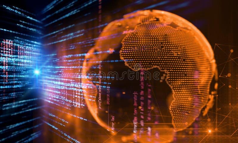 3d地球翻譯在高科技未來派技術摘要背景,現代數據科學的概念的圖片