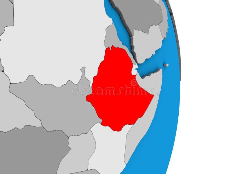 3D地球的埃塞俄比亚 向量例证