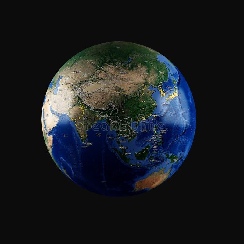 download 3d地球(亚洲) 库存例证.