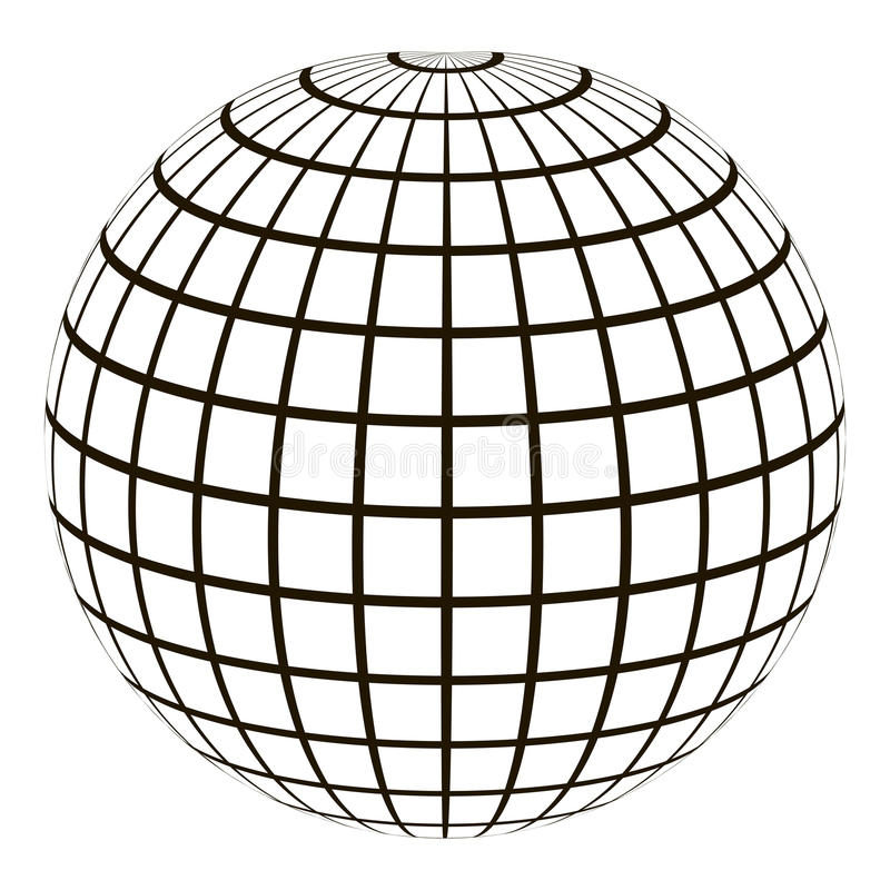 3d地球以坐标格网子午线和平行 库存例证