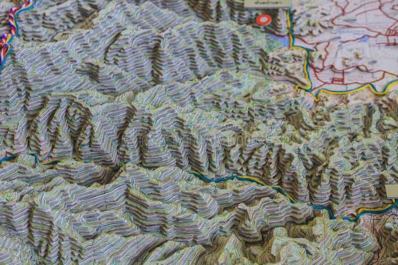 3D地理模型的地图 库存图片