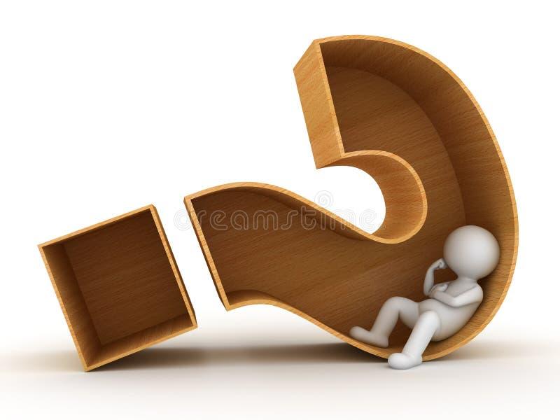 3d坐在木问号箱子的人 库存例证
