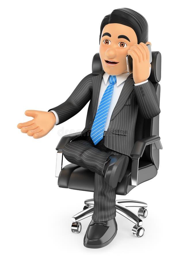 3D坐在他的椅子的商人讲话由手机 向量例证