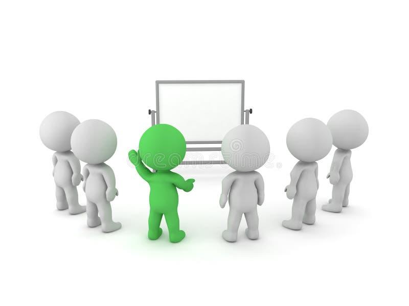 3D坐在whiteboard他们中的一个前面askin的字符 向量例证