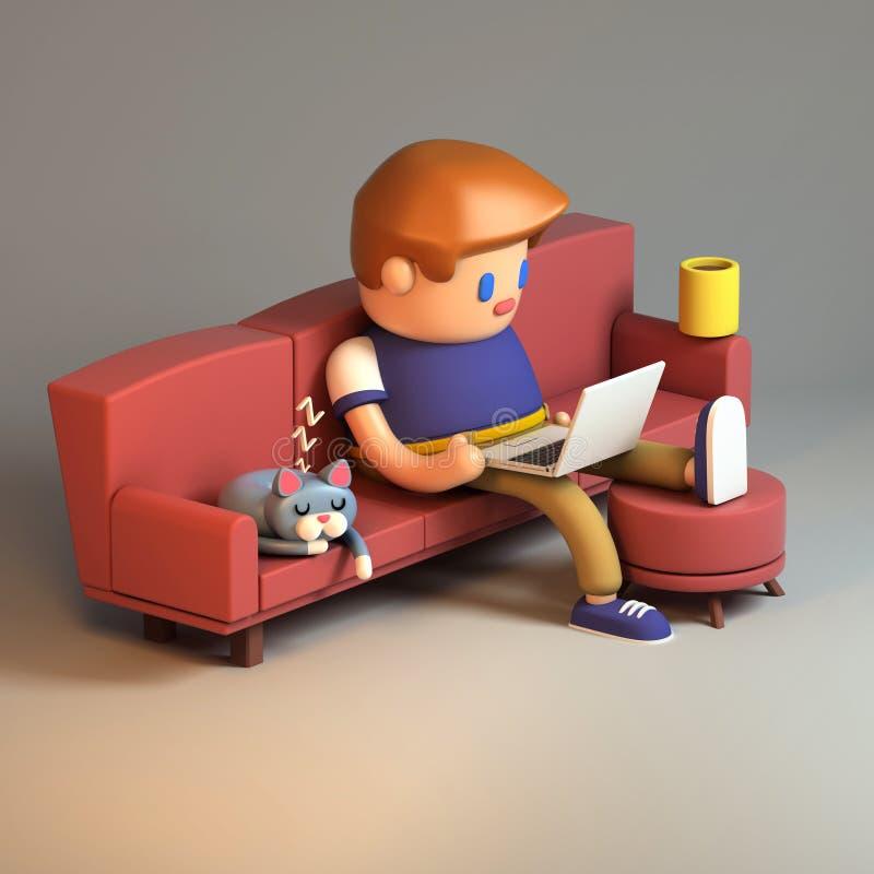 3d坐长沙发和研究膝上型计算机的年轻人翻译 库存例证