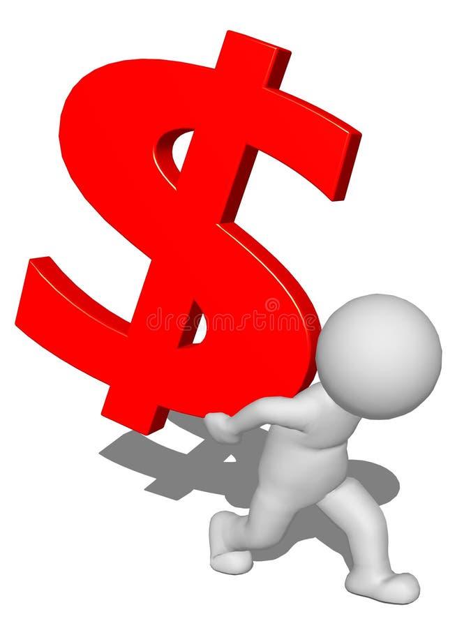 3d坚持红色美元的符号后面的字符人 向量例证