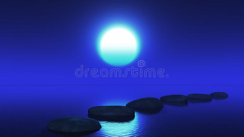3D垫脚石在海洋在晚上 皇族释放例证