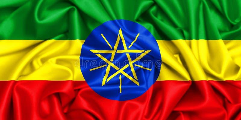 3d埃塞俄比亚的挥动的旗子 向量例证