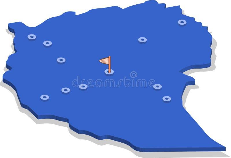 3d埃塞俄比亚的等轴测图地图有蓝色表面和城市的 皇族释放例证