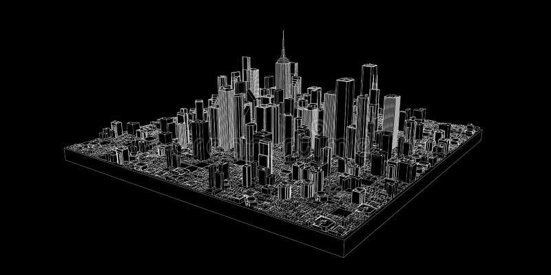 3D城市模型  传染媒介概述例证 库存例证