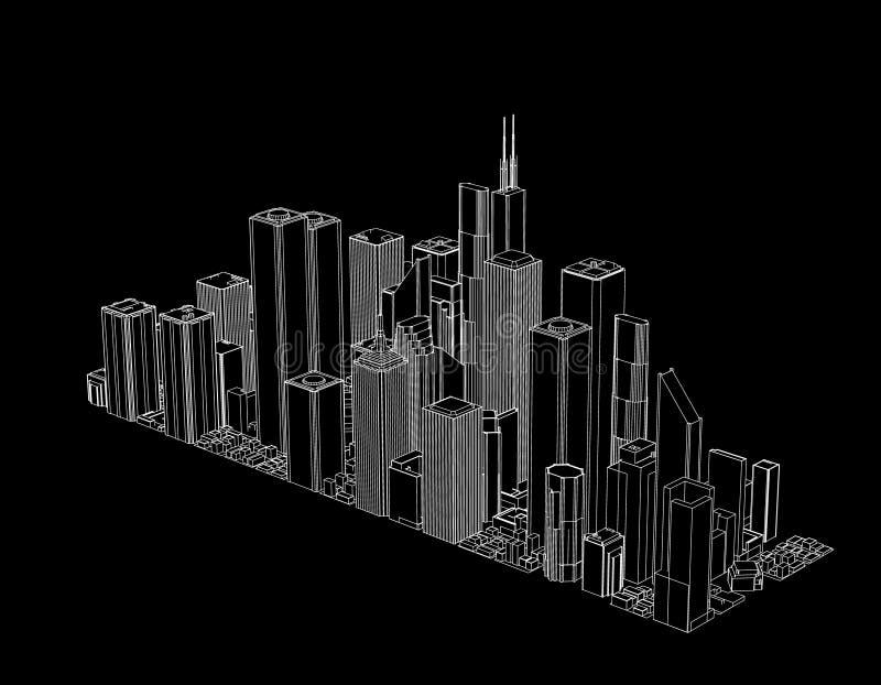 3D城市模型  查出在黑色背景 传染媒介概述我 向量例证