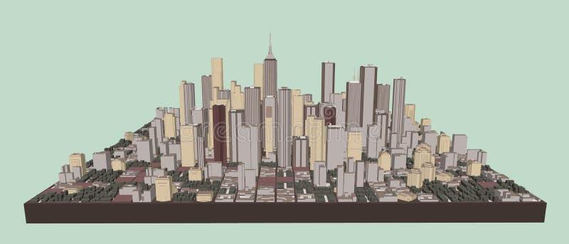 3D城市模型  r o 向量例证