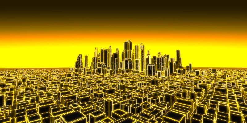 3d城市的全息照相的例证 库存照片