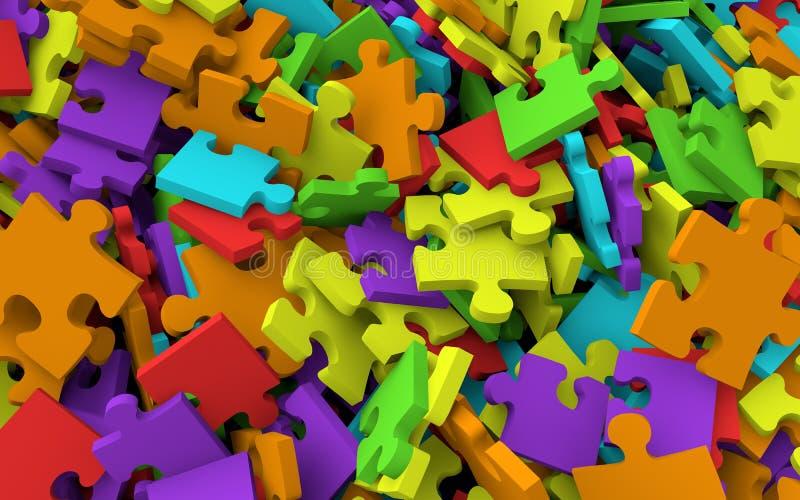 3D堆七巧板片断 皇族释放例证
