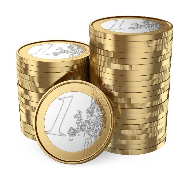 3D堆欧洲硬币 皇族释放例证