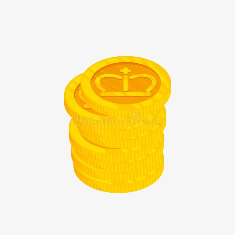 3D堆的象与冠的金币在上面 也corel凹道例证向量 优胜者奖 最佳的挑选徽章 皇族释放例证