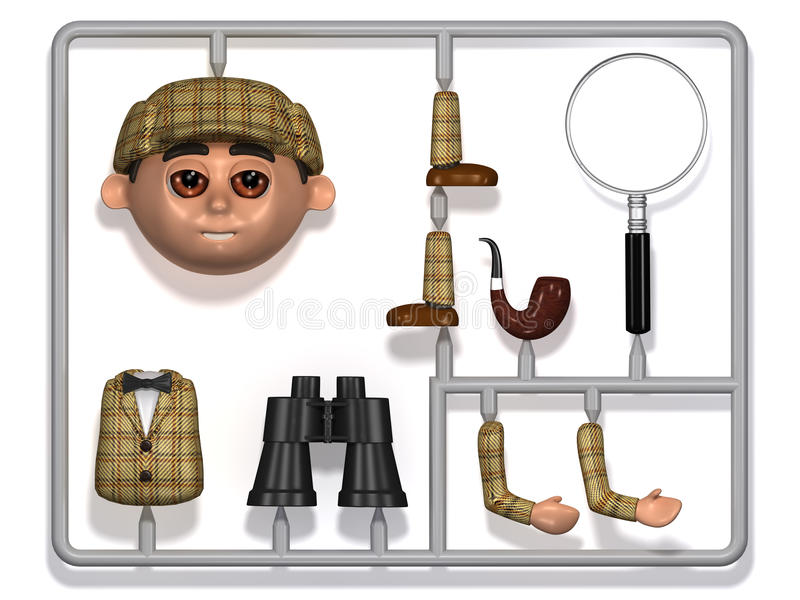 3d塑料Sherlock建筑成套工具 皇族释放例证