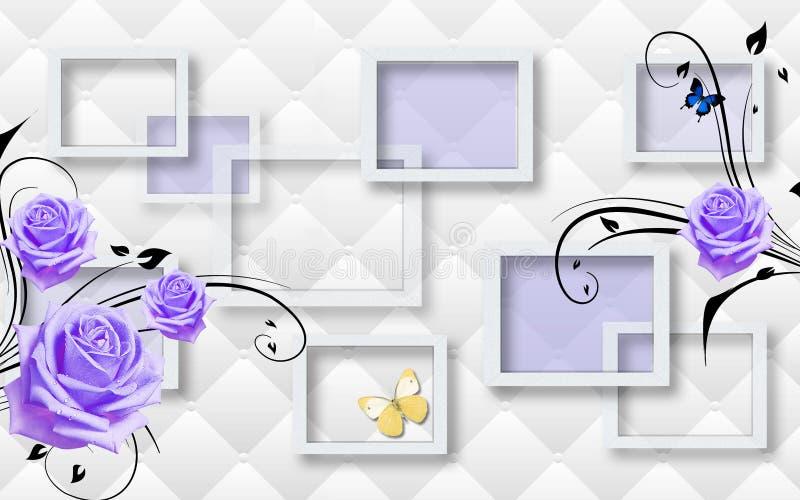 3d墙壁上的墙纸有灰色背景和花、正方形和蝴蝶 向量例证