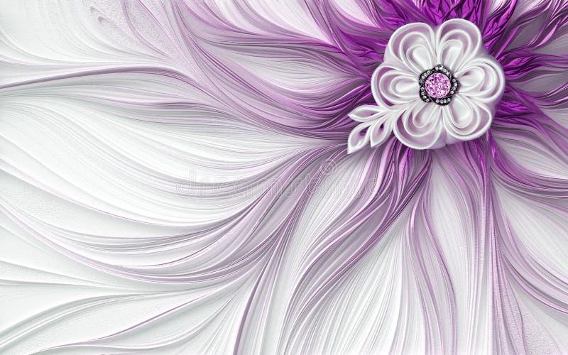 3d墙壁上的墙纸桃红色,紫色装饰摘要分数维意想不到的花背景 库存例证