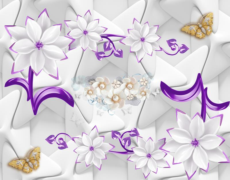 3d墙纸与蝴蝶和紫色桃红色花的摘要背景 皇族释放例证