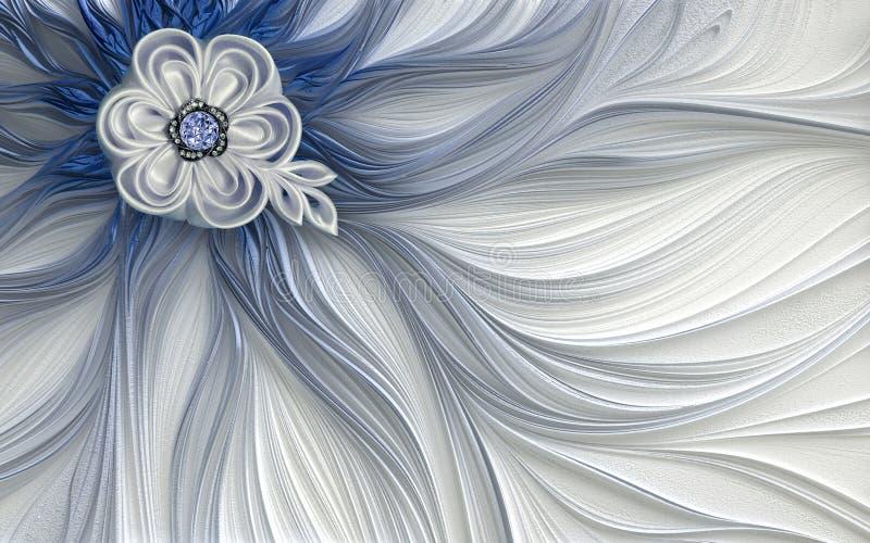 3d墙纸装饰摘要分数维意想不到的花 皇族释放例证