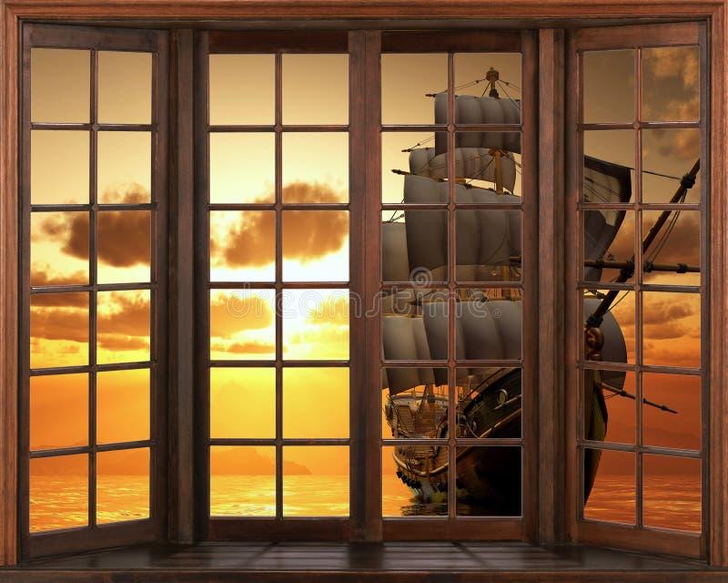 3D墙纸,窗口视图帆船船大篷车 在防波堤贴纸视图的日落从窗口 皇族释放例证