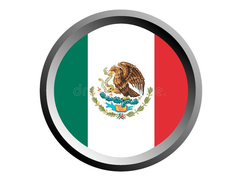 3D墨西哥的回合旗子 向量例证