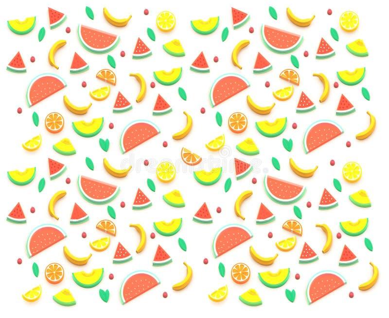 3D夏天果子,西瓜,瓜,桔子,柠檬,葡萄柚,樱桃,香蕉 许多品种 背景构成 皇族释放例证