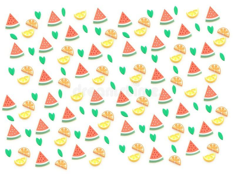 3D夏天果子,西瓜,瓜,桔子,柠檬,葡萄柚,许多品种 背景构成 皇族释放例证