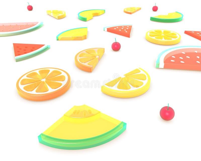3D夏天果子 背景构成,透视 向量例证