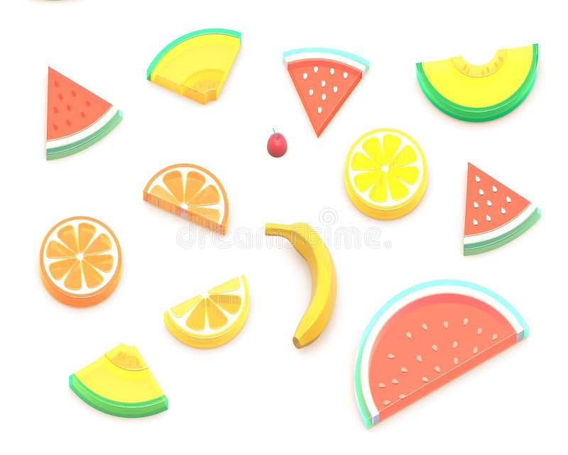 3D夏天果子 被隔绝的图象 向量例证