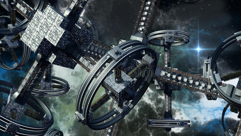 3D外籍人太空飞船的例证 库存例证