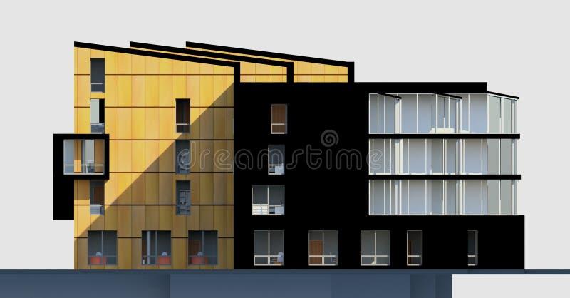 3D多层的家的门面 向量例证