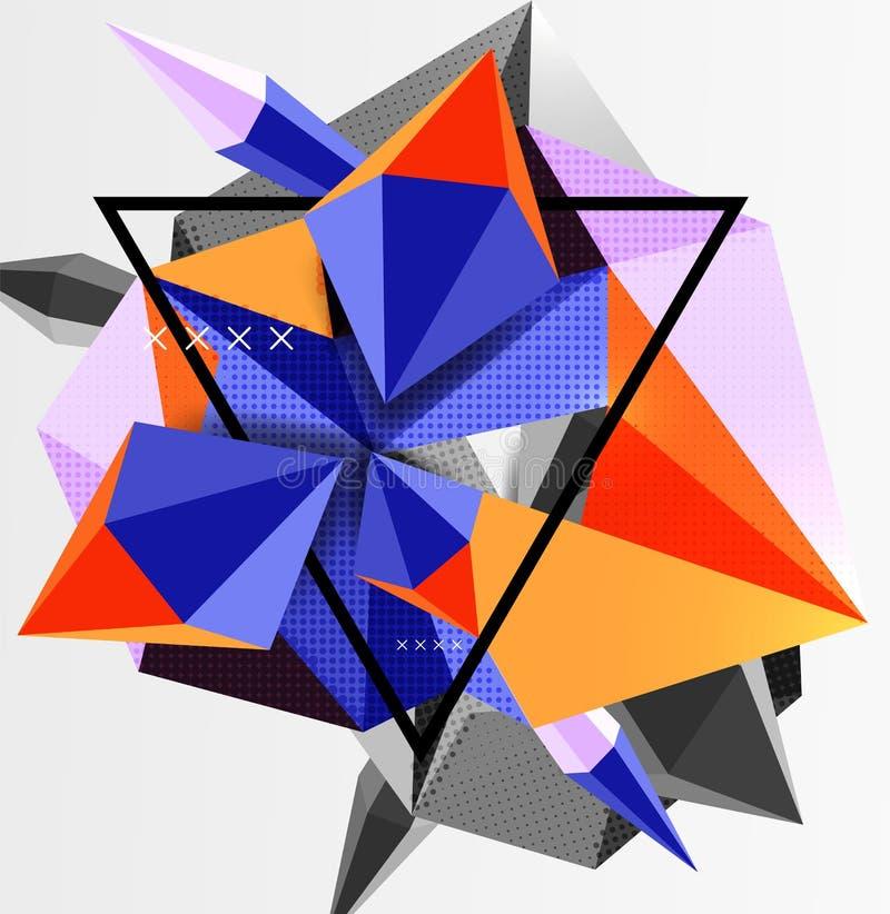3d多角形元素抽象背景 皇族释放例证