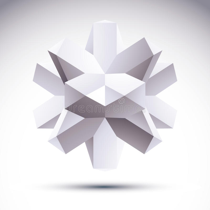 3D多角形几何对象,导航抽象设计元素, c 向量例证