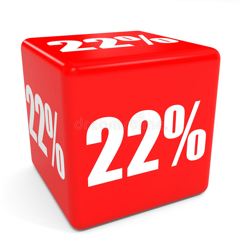 3d多维数据集红色销售额 22%折扣 向量例证