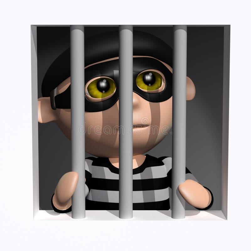 3d夜贼关在监牢里 库存例证